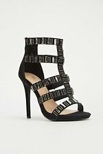 BNIB BELLE WOMEN BLACK EMBELLISHED CAGED CUT OUT STRAPPY HIGH HEELS 4;5;7;8
