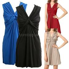 Women Dress Twist knot Ruching Pleated V Neck Sleeveless Mini Party Dress L4A0