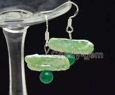 SALE 20-25mm Green Natural Biwa Pearl & 6mm Round Green Jade dangle Earring-e503