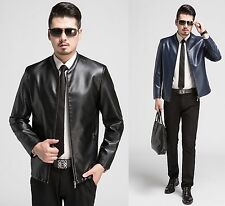 Mens Leather Jacket Classic Coat utility Outerwear Hipster Handsome stylish