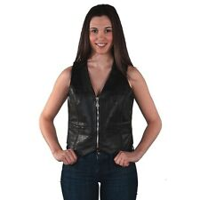 WOMENS GENUINE BLACK LEATHER BRAIDED VEST w/ CONCEAL CARRY POCKETS - DA52