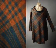 Dark Navy Blue Rust Orange Plaid Funnel Neck Mod 60s Shift 223 mv Dress S M L