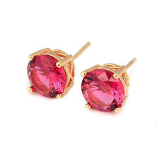 Delicate Shiny 18K Gold Plated Round clear crystal Stud Earrings Fashion Jewelry