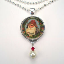 CHRISTMAS SANTA CLAUS GNOME ELF VINTAGE CHARM SILVER OR BRONZE PENDANT NECKLACE