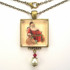 "CHRISTMAS SANTA CLAUS TOYS ""VINTAGE CHARM"" SILVER OR BRONZE ART PENDANT NECKLACE"