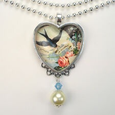 French Bluebird Necklace Heart Pendant Graphic Art Vintage Charm Jewelry