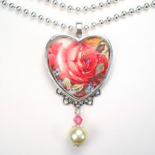 Pink Rose Heart Necklace Forget Me Not Pendant Vintage Charm Graphic Art Jewelry