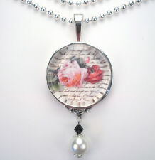 "PINK ROSE FRENCH FLOWER ""VINTAGE CHARM"" SILVER OR BRONZE ART PENDANT NECKLACE"