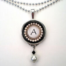 INITIAL LETTER A MONOGRAM VINTAGE CHARM SILVER OR BRONZE PEARL PENDANT NECKLACE