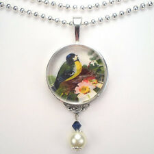 "BIRD on NEST ""VINTAGE CHARM"" HANDCRAFTED ART SILVER OR BRONZE PENDANT NECKLACE"