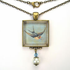 "BLUEBIRD IN FLIGHT BLUE BIRD ""VINTAGE CHARM"" BRONZE OR SILVER PENDANT NECKLACE"