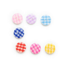 50pcs 2 hole Grid Resin Buttons Sewing Scrapbooking Decor Clothing Home 13mm