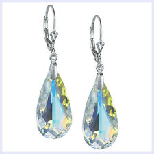 STR Silver Faceted Clear Teardrop Leverback Earring made w/ Swarovski Elements