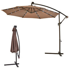 10' Outdoor LED Hanging Solar Umbrella Patio Sun Shade Offset w/Base Market Use