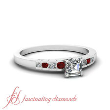1 Carat Platinum Engagement Ring With Asscher Cut Diamond And Round Ruby GIA
