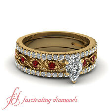 1 Ct Pear Shape Ruby Engagement Ring And Diamond Anniversary Band In Yellow Gold