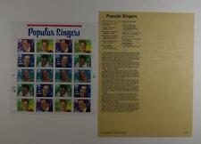 US SCOTT 2849 - 53 PANE OF 20 POPULAR SINGERS STAMPS 29 CENT FACE MNH