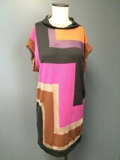 MISSONI Geo Pattern Cap Sleeve Wool Blend Mock Neck Tunic Dress Top Sz US 8