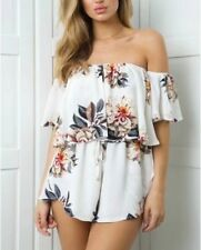New Womens Ladies Sexy Off Shoulder Ruffled Detail Shorts Jumpsuit Playsuit