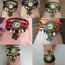 Fashion Women Quartz Movement Leather Butterfly Bracelet Wrist Watch Jewelry F^