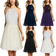 Women Sexy Sleeveless Party Evening Cocktail Gown Chiffon Sequins Pleated Dress