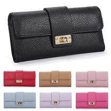 Women Leather Bifold Wallet Clutch Phone Card Holders Purse Lady Long Handbag u