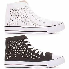 NEW LADIES HI TOPS STUD TRAINERS WOMENS HIGH ANKLE SHOES BOOTS LOOK LACE UP PUMP
