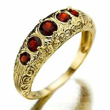 Eegant Fashion Size 7,8 Jewelry Red Garnet 10KT Gold Filled Women's Wedding Ring