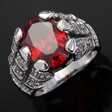 Gorgeous Men's Size 8-11 Gorgeous Red Garnet 18K Gold Filled Engagement  Ring