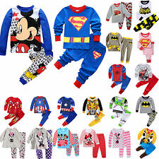 Baby Boys Girls Sleepwear Cartoon Kids Tshirt Tops Pants Nightwear Pajamas Pj's