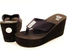 Corkys Gypsy Girl Glisten Crystal Trimmed High Wedge Platform Flip Flops