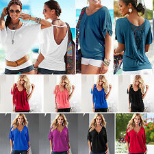 Womens Summer Batwing Short Sleeves T-Shirt Tops Fashion Casual Baggy Blouse