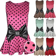 NEW LADIES BLACK PU BOW POLKA DOT FLOCK PRINT WOMENS PEPLUM FRILL SPOT MINNIE