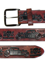 """Lucky 13 Thirteen  Classic """" Coupe """" Embossed Antiqued Brown Leather Belt"""