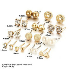 12 Pairs Set Women's Fashion Pearl Crystal Heart Stud Triangle Earring Jewelry H
