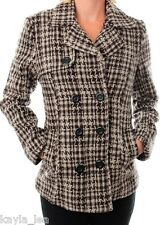 Brown Blend Houndstooth Double Button Front Jacket/Peacoat/Coat