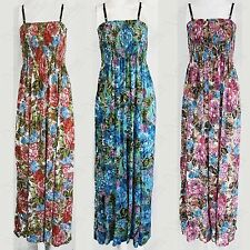 NEW WOMENS FLORAL PRINT STRAPPY MAXI DRESS BANDEAU LADIES BOOBTUBE LONG DRESSES