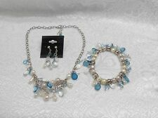 TURQUOISE BLUE & PEARL WHITE COLOR BEADED NECKLACE/EARRING/BRACELET SET