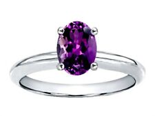 Oval 8x6mm Amethyst Solitaire Ring