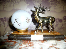 FRENCH ART DECO SPELTER STAG MOOD LAMP