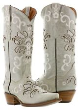 Womens Off White Overlay Leather Cowboy Cowgirl Leather Boots Western Riding New
