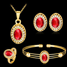 FASHION RHINESTONE NECKLACE EARRINGS BANGLE RING BANQUET JEWELRY SET LIVELY