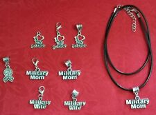 MILITARY ANTIQUE SILVER CHARM -LOVE MY SOLDIER - MILITARY MOM - WIFE - POW -BRAT