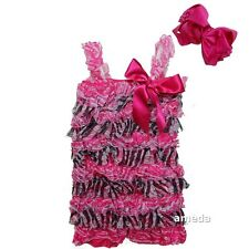 Baby Hot Pink Zebra Rosettes Petti Lace Rompers & Headband Outfit