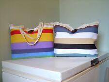 Colorful Striped Canvas Tote Handbag - - - - k/y