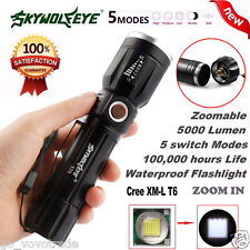 5000LM 5 Modes Zoomable CREE XM-L T6 LED 18650 Battery Flashlight Focus Lamp AU
