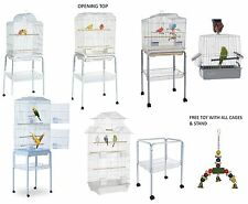 NEW WUNDAPETS QUALITY WHITE BUDGIE CANARY FINCH PARROT CAGES WITH TROLLEY STAND
