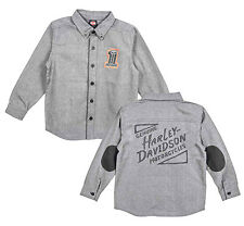 Harley-Davidson Boys Youth #1 Skull Patched Elbows Grey Long Sleeve Woven Shirt
