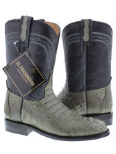 Mens Gray Roper Crocodile Leather Cowboy Boots Rodeo Western Alligator Exotic