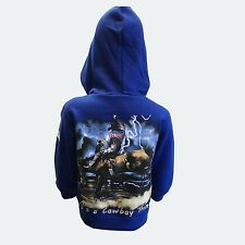 Boys Kids Blue Its a Cowboy Thing Zip Up Hoodie Bull Riding Rodeo Outback Winter